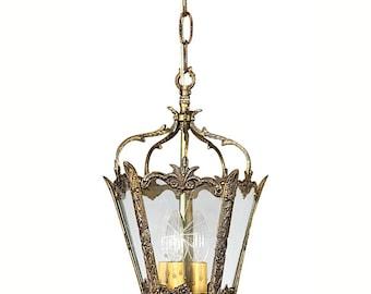 FREE SHIP - Vintage Brass Lantern - Vintage Lighting - Antique Light - Great for Hallway or Foyer, Vintage Ceiling Light