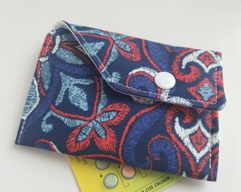 Birth Control Case Sleeve with Snap Closure -Red white and blue