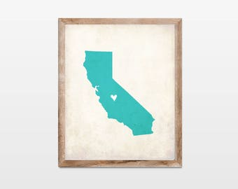 California Rustic State Map. Personalized California Map Art Print 8x10. California Map Gift. Wedding Map Art. Wedding Gift. Couple Map Art.