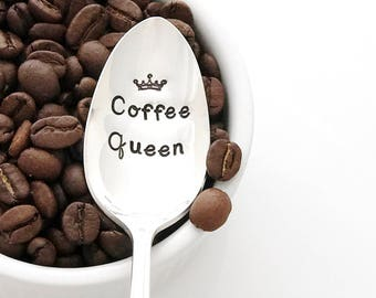 Coffee Queen. Stamped Spoon with Crown. Coffee Lover Gifts for Her, Engraved Coffee Spoon, birthday gifts,  by Milk & Honey ®