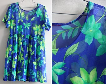 Sheer Mesh Neon Green and Blue 90s Floral Babydoll Dress