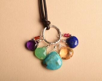 Turquoise Necklace, Chakra Gemstone Necklace, Gemstone Leather Necklace, Chakra Jewelry, Healing Gemstone Necklace