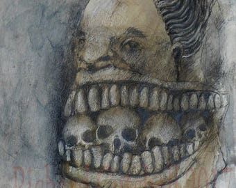 "Original raw expression contemporary art brut small Mixed Media Painting on paper - ""Big Mouth"""
