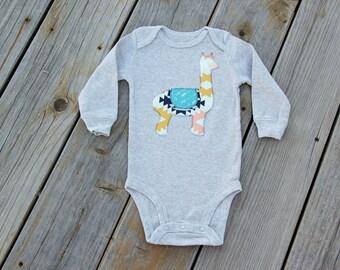 Alpaca Baby Bodysuit, Aztec Alpaca Bodysuit, Llama Bodysuit, Baby Llama