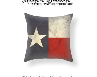 Texas Flag Pillow Cover, Lone Star Throw Pillow, Texas Patriotic Flag Toss Pillow, Texas Flag Cushion Cover, Red White Blue Lone Star Pillow