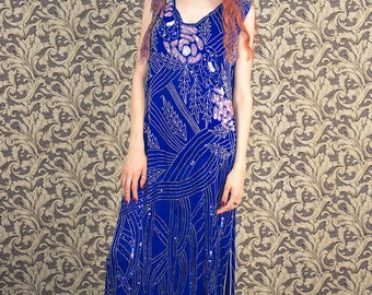 Silk beaded dress, blue party dress embroidered and beaded with sequins, flapper style, bohemian party dress medium to large