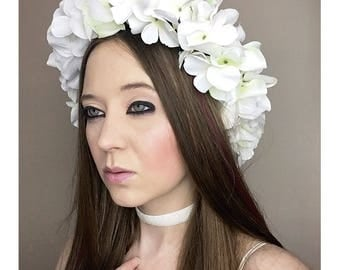 White Flower Crown Adult Floral Crown, Woodland Halloween Fairy Costume, Flower Bridal Crown, Flower Headband