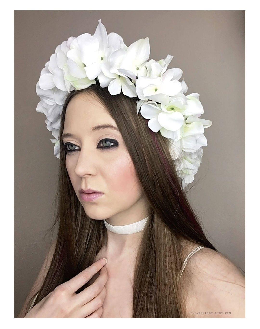 white flower crown adult floral crown woodland halloween fairy costume flower bridal crown