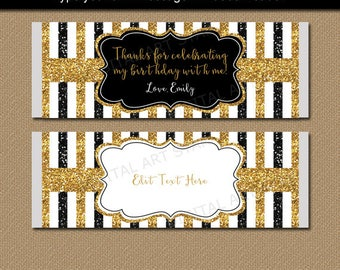 Black Gold Glitter Candy Bar Wrappers, 50th Birthday Party Favors, 50th Wedding Anniversary Favors, Chocolate Wrapper, Glitter Birthday B4
