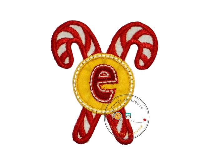 Christmas candie cane initial letter E- iron embroidered fabric applique patch embellishment- ready to ship