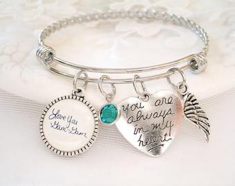 Signature Bracelet Handwriting Charm Bracelet Custom Signature Jewelry Personalized Message Mom Memory Handwriting Bracelet Braided Bangle