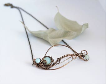 Amazonite leaf necklace Horizontal Bar wire wrapped Nature jewelry Leafy Statement Gemstone Anniversary Christmas gift for her Mother Mom