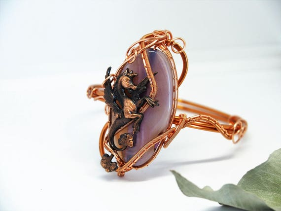 Copper wire Gemstone bracelet cuff wire wrapped Winged horse Gift for her Mother's day gift Natural stone anniversary gift handmade jewelry