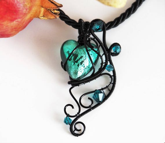 Heart pendant Gothic jewelry Black Wire wrapped lampwork glass necklace Gift for women Goth love gift Christmas gifts for girlfriend her