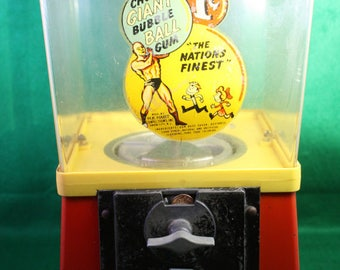 1960's vintage gumball machine - 1 cent - vending coin opp candy Giant Bubble Ball Gum with key