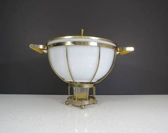 Mid Century Serving Dish // Vintage Fire-King Glass Bowl Casserole Dish Milk Glass with Gold Metal Carrier Candle Warmer Buffet Chafing Dish
