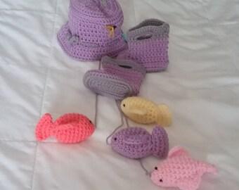 Fisherman hat, fish and rainboots, baby girl fishing hat, newborn photo prop, newborn fishing hat, fish and rainboot, firls fishing hat