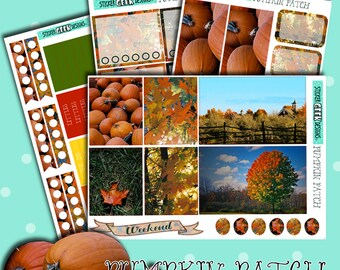 Planner Stickers | Fall Stickers | Autumn Stickers | Pumpkin Stickers | Pumpkin Patch | Mini Planner Kit | Harvest Stickers | Photo Stickers
