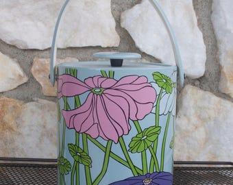 Vintage Vinyl Flower Ice Bucket