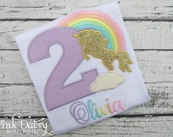 Unicorn Birthday Shirt - Pastel Rainbow Unicorn Shirt - Gold Unicorn Birthday Shirt - Girls First Birthday - Monogrammed Unicorn Shirt