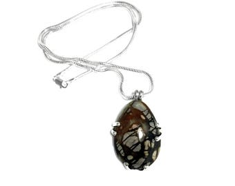 Chunky Silver Gemstone Pendant   Sterling Silver Necklace   Natural Picasso Marble Stone
