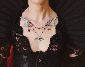 Bat Wing floating necklace with draped chain and genuine garnet with Art Deco scroll work ~ Vintage Charm Statement Bib ~ Victorian Wedding