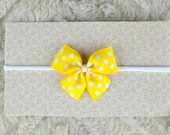 Baby Headband with bow, tiny bow headbands, Headbands for newborn, yellow headband, yellow bow, baby bows, Nylon headband