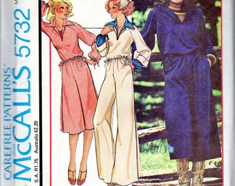 "Easy 1970's Women's Top, Culottes and Pants Pattern - Size Small (10-12) Bust 32 1/2-34"" - McCall's 5732"