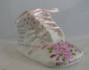 Baby shoe with Pink Roses on porcelain personalized/ hand painted baby bootie