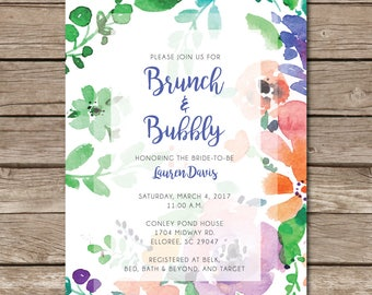 Brunch and Bubbly Shower Invitation Engaged Wedding Love Bride Party Digital File Print Printable
