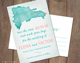 Save the Date Postcard, Save Our Date Postcard, Destination Wedding, Punta Cana Custom Map Save the Date Postcard - PRINTABLE files