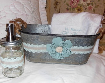 Hand Made, New, Galvanized, Small Bucket, Pail, Restyled, Embellished, Guest Bathroom, Housewarming Gift