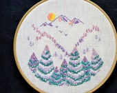 Mountain & Forest, Embroidery pattern, DIY gift, Hand embroidery, PDF pattern, hand embroidery patterns by NaiveNeedle