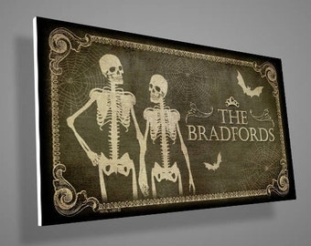 Personalized Skeletons door sign with a custom family name,door sign,family sign,gothic,art,skull,skeleton,bat,digital print,housewarming