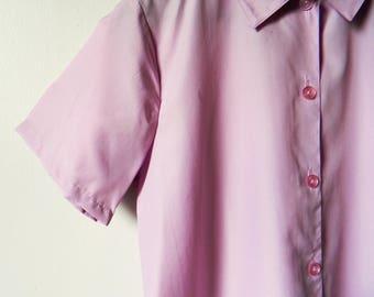 Lavender Pastel Vintage Blouse / 70s Pastel Button Down Shirt / Retro Pastel Lilac Blouse