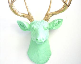 MINT w/ Gold Antlers Faux Taxidermy Deer Head wall mount wall hanging wall decor in mint with gold antlers:  office nursery home decor