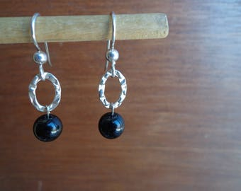 Black onyx / silver earrings.