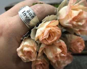 Custom Spoon Ring - One Love - Hand Stamped Vintage Silverplated Spoon Ring - Personalized - Made in the USA