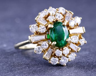 Natural Emerald and Diamond 18 Kt Yellow Gold
