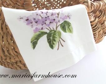 TEA TOWEL, Vintage Cotton, Embroidered, Lilac Floral Design Tea Towel, Farmhouse Kitchen Decor