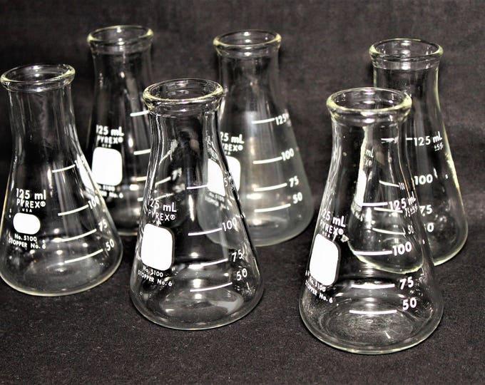 Six 125mL Pyrex Erlenmeyer Flasks, Pyrex #5100-125