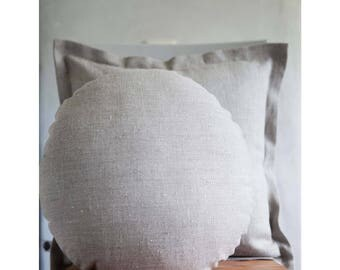 Round pillow, linen round pillow with insert, cosleeper pillow, pillow for floor seating, linen co sleeper, sofa decor pillow, round cushion