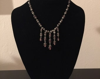 Purple Crystal Necklace with Five Vertical Strands