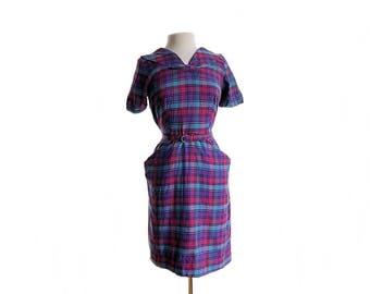 Vintage 60s checkered day dress/ purple pink blue 1960s cotton dress/ mod secretary dress/ summer dress/ Peter Pan collar