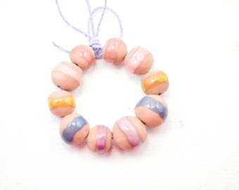 10 Handcrafted Ceramic Beads - Pastel - Unique Assortment - Earthy - Striped- Handmade - Round- Pottery beads - Brownstone - Bead Set  Y484