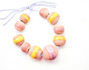 10 Handcrafted Ceramic Beads - Pastel - Unique Assortment - Earthy - Striped- Handmade - Round- Pottery beads - Brownstone - Bead Set  Y485