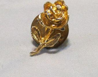 vintage gold rose lapel pin