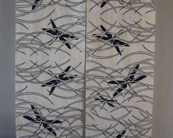 Noren doorway curtain, blue and white cotton, two panels, dragonfly design, Japanese yukata cotton fabric