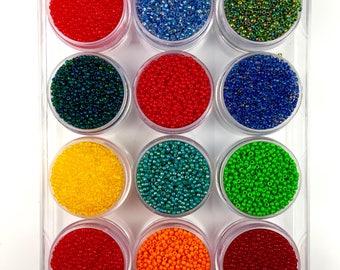 11/0 Seed Bead Kit, 12 Colors, Seedbeads, Craft Supplies, Jewelry Supplies