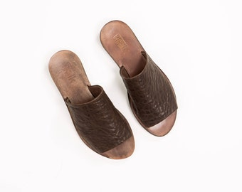 Brown Leather Slides
